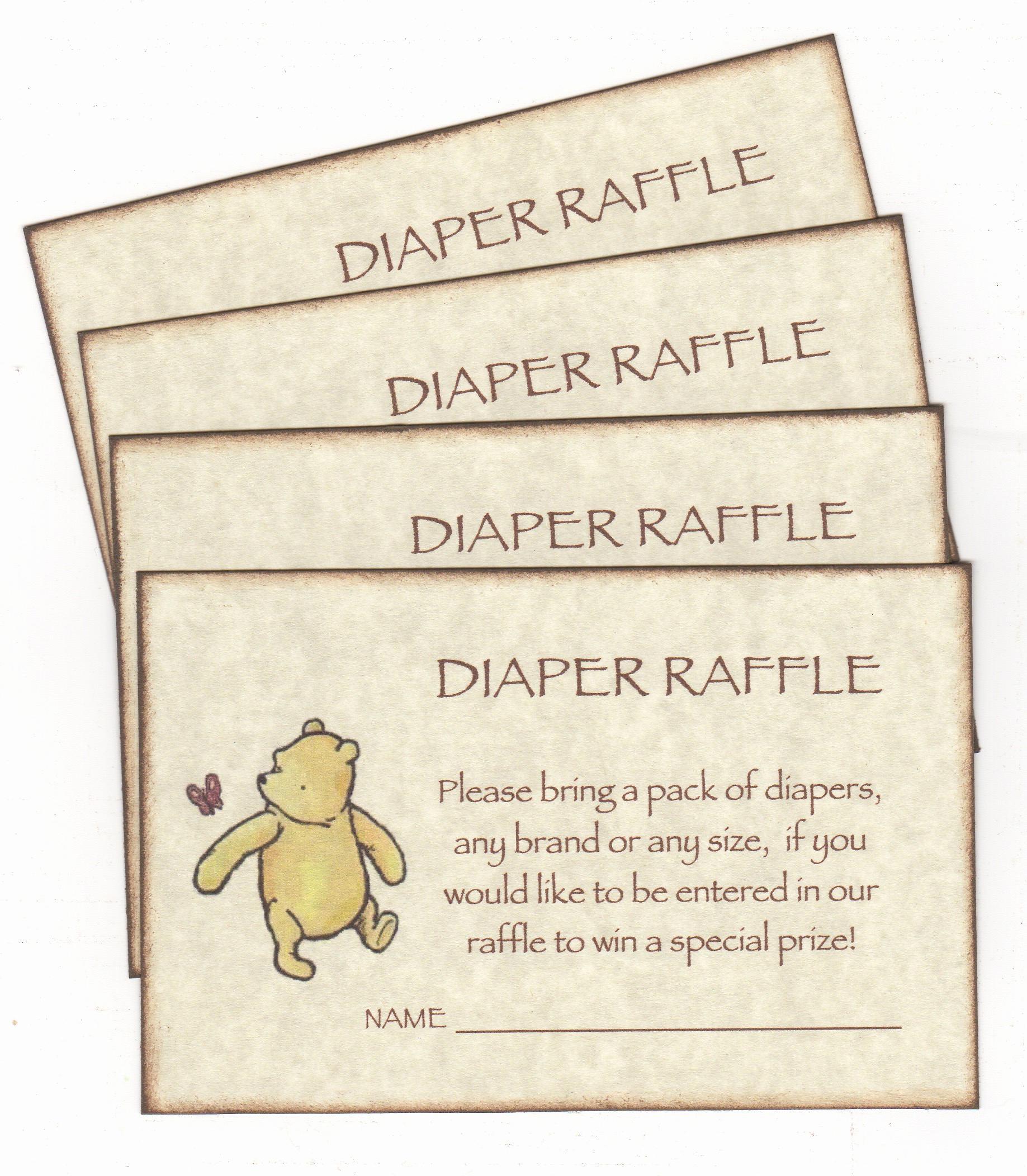 Diaper Raffle Wording On Invitation Luxury Winnie the Pooh Diaper Raffle Invitation Add for Baby