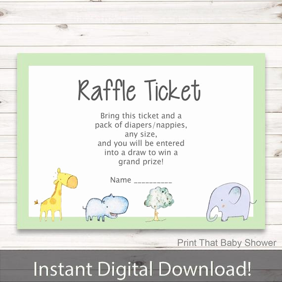 Diaper Raffle Wording On Invitation New Baby Shower Diaper Raffle Tickets Zoo Friends Invitation