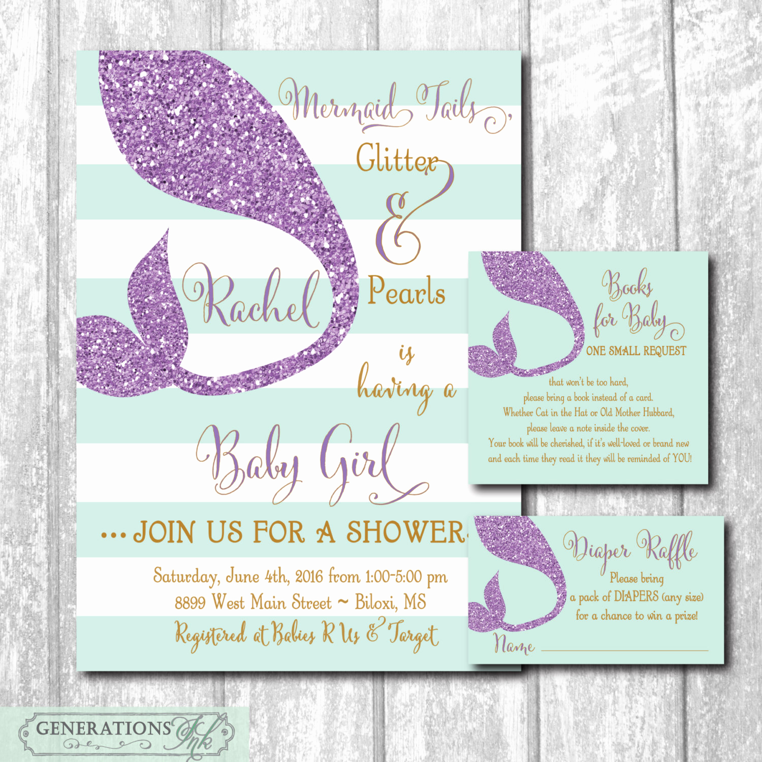 Diaper Raffle Wording On Invitation New Mermaid Baby Shower Invitation with Matching Diaper Raffle