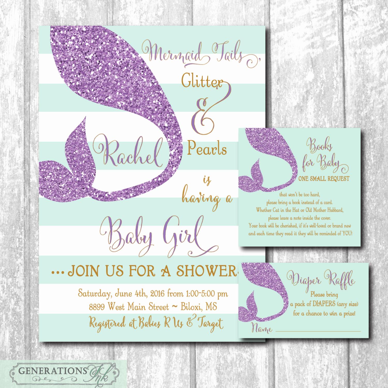 Diaper Raffle Wording On Invitation New Mermaid Baby Shower Invitation with Matching Diaper Raffle