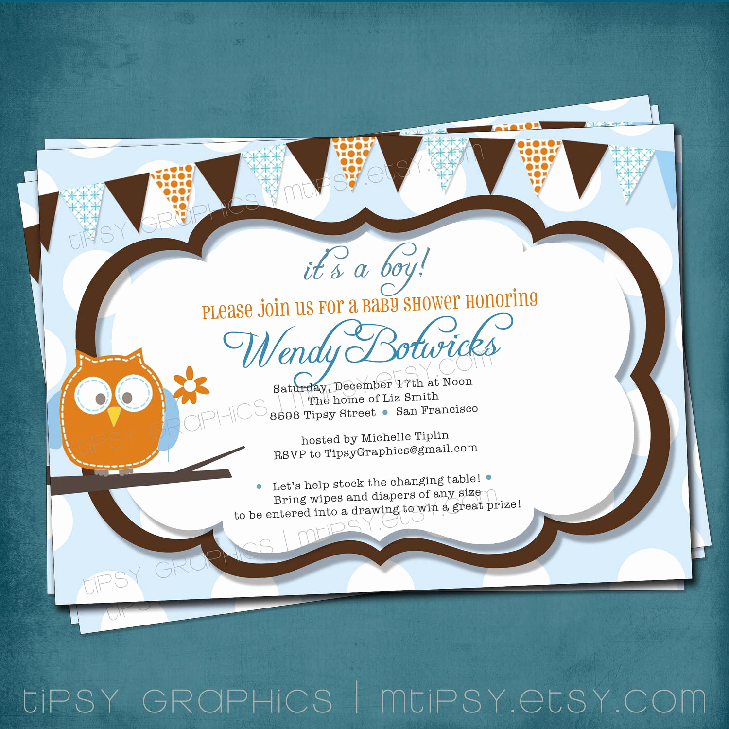 Diaper Shower Invitation Wording Awesome Items Similar to Baby Owl Diaper Raffle Shower or Baby