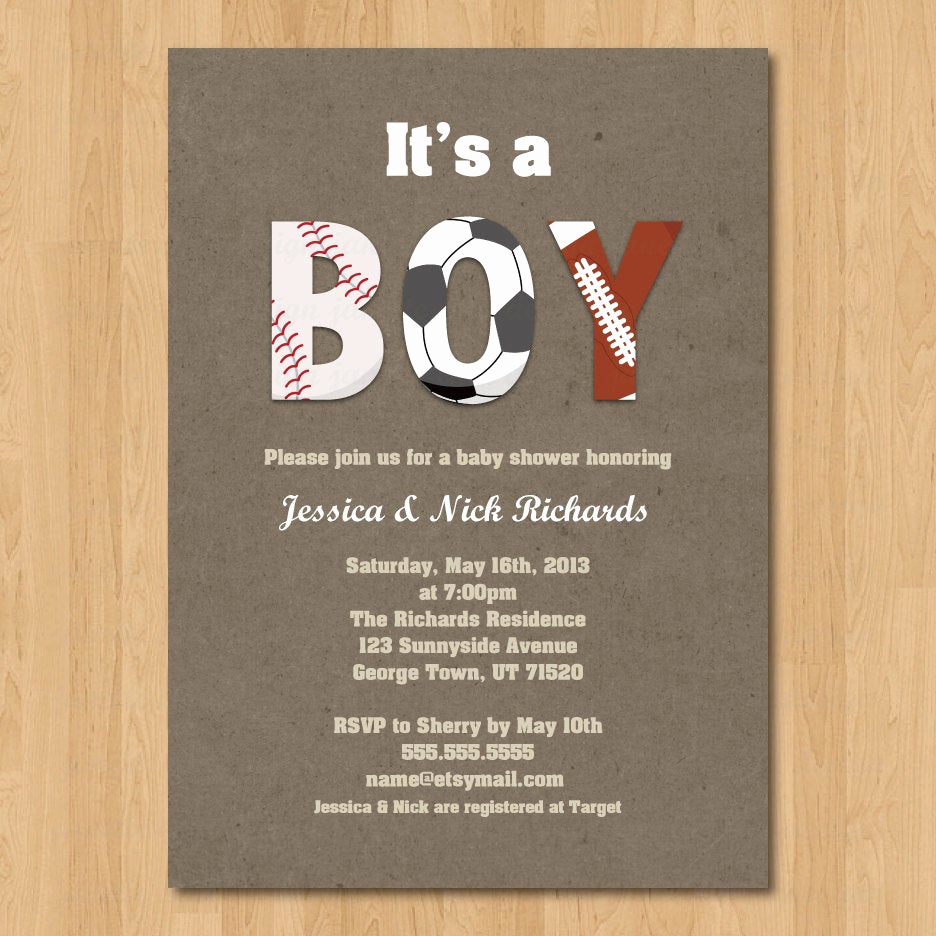 Diaper Shower Invitation Wording Best Of Sports Boy Baby Shower Invitation Digital Printable or