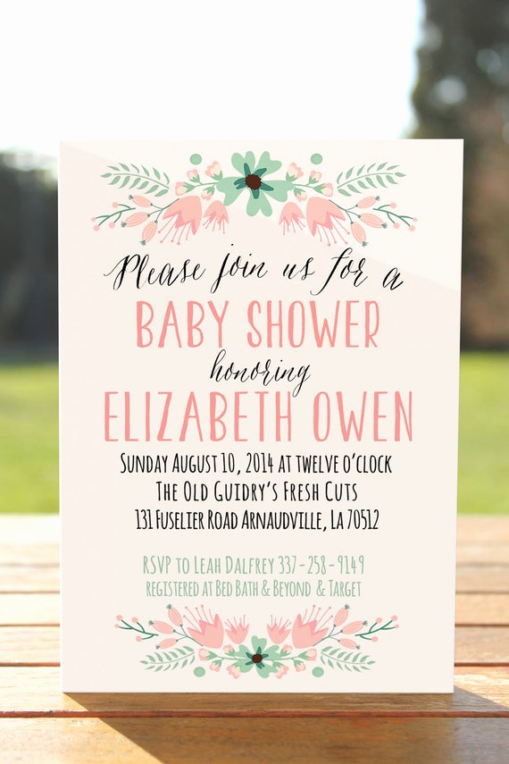 Diaper Shower Invitation Wording Inspirational Unique Baby Shower Invitation Floral Baby Shower Invite Baby
