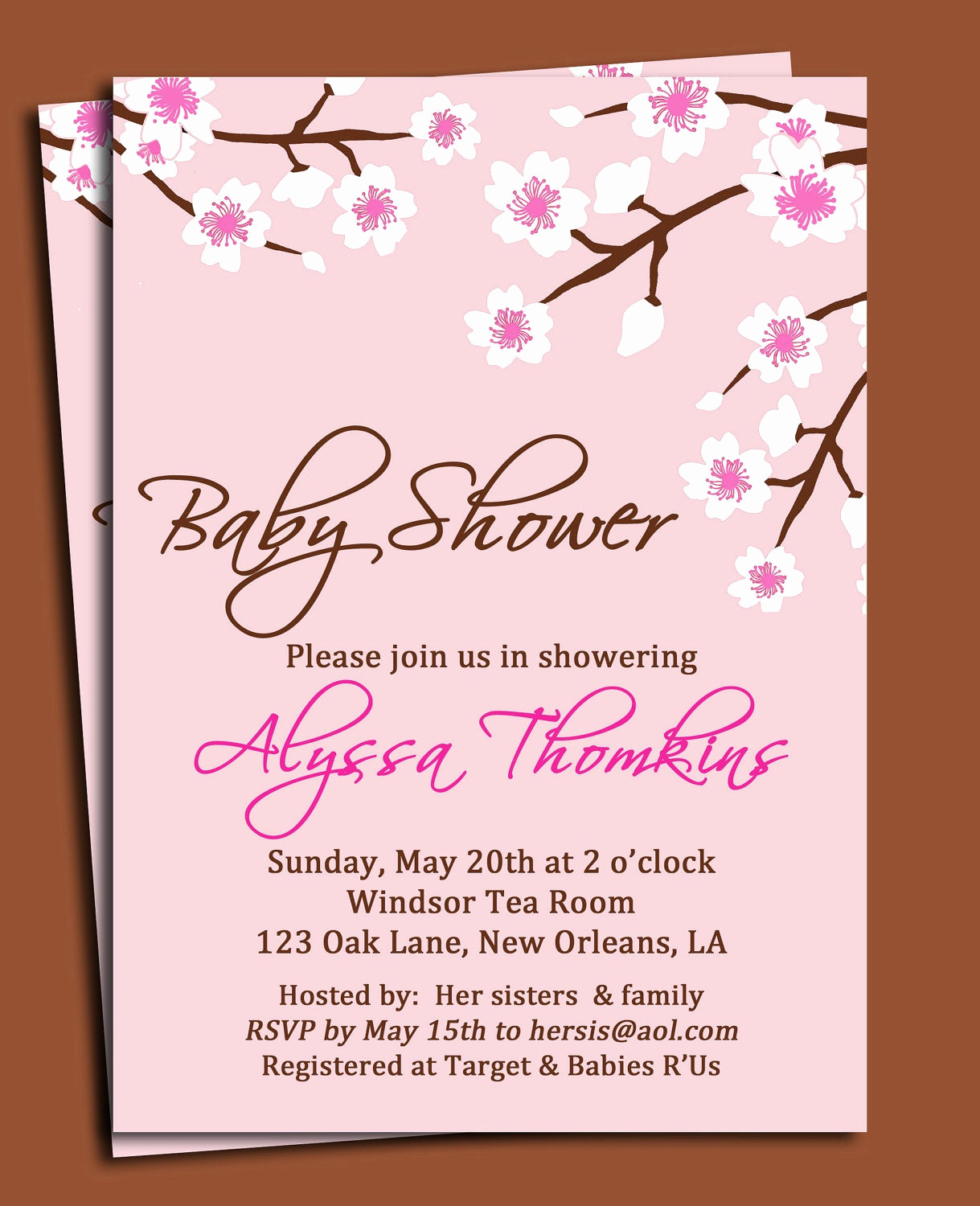 Diaper Shower Invitation Wording Lovely Cherry Blossom Invitation Printable or Printed with Free