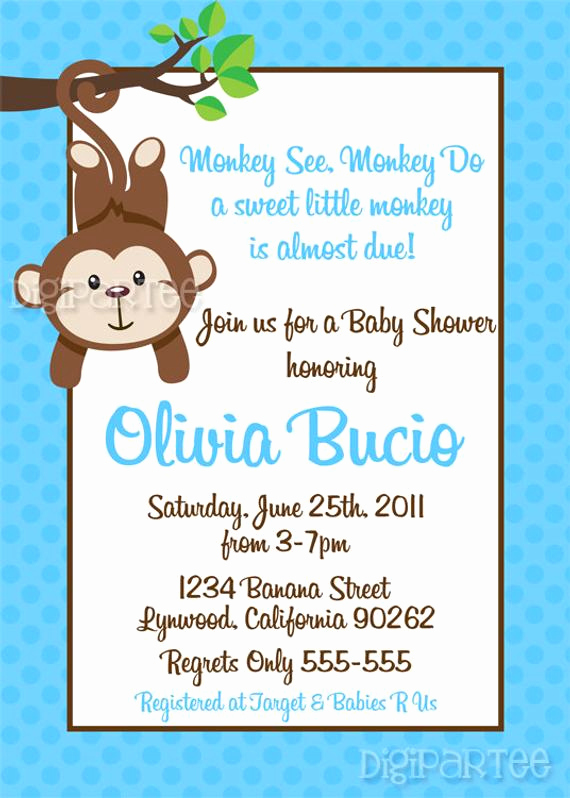 Diaper Shower Invitation Wording Luxury Monkey Baby Shower Invitation by Dpdesigns2012 On Etsy