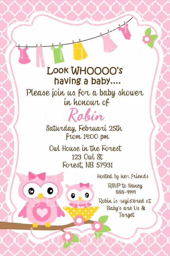 Diaper Shower Invitation Wording Luxury Owl Sayings for Baby