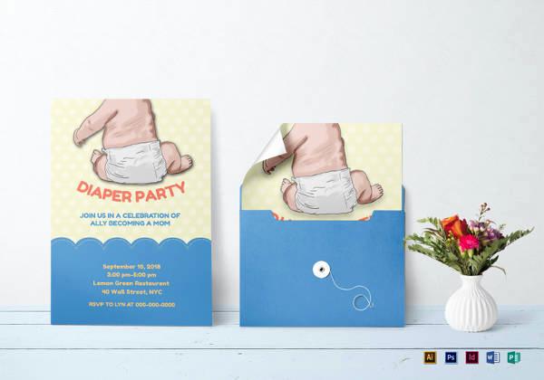 Diaper Template for Invitation Luxury 35 Diaper Invitation Templates – Psd Vector Eps Ai