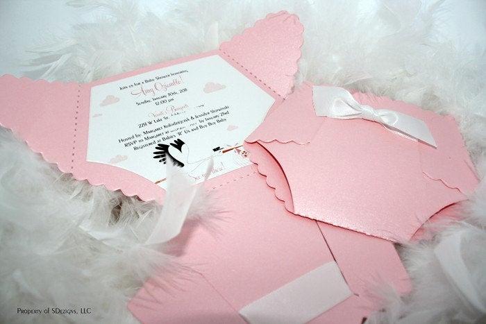 Diaper Template for Invitation Unique Diaper Baby Shower Invitation or Baby Announcement Stork