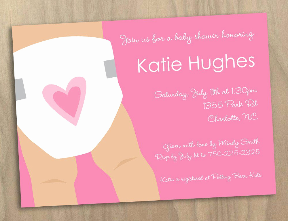 Diaper Template for Shower Invitation Elegant Diaper Party Invitations Printable