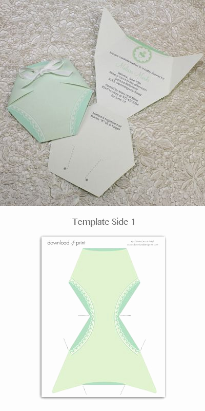 Diaper Template for Shower Invitation Fresh Baby Shower Invitation Template Green Diaper