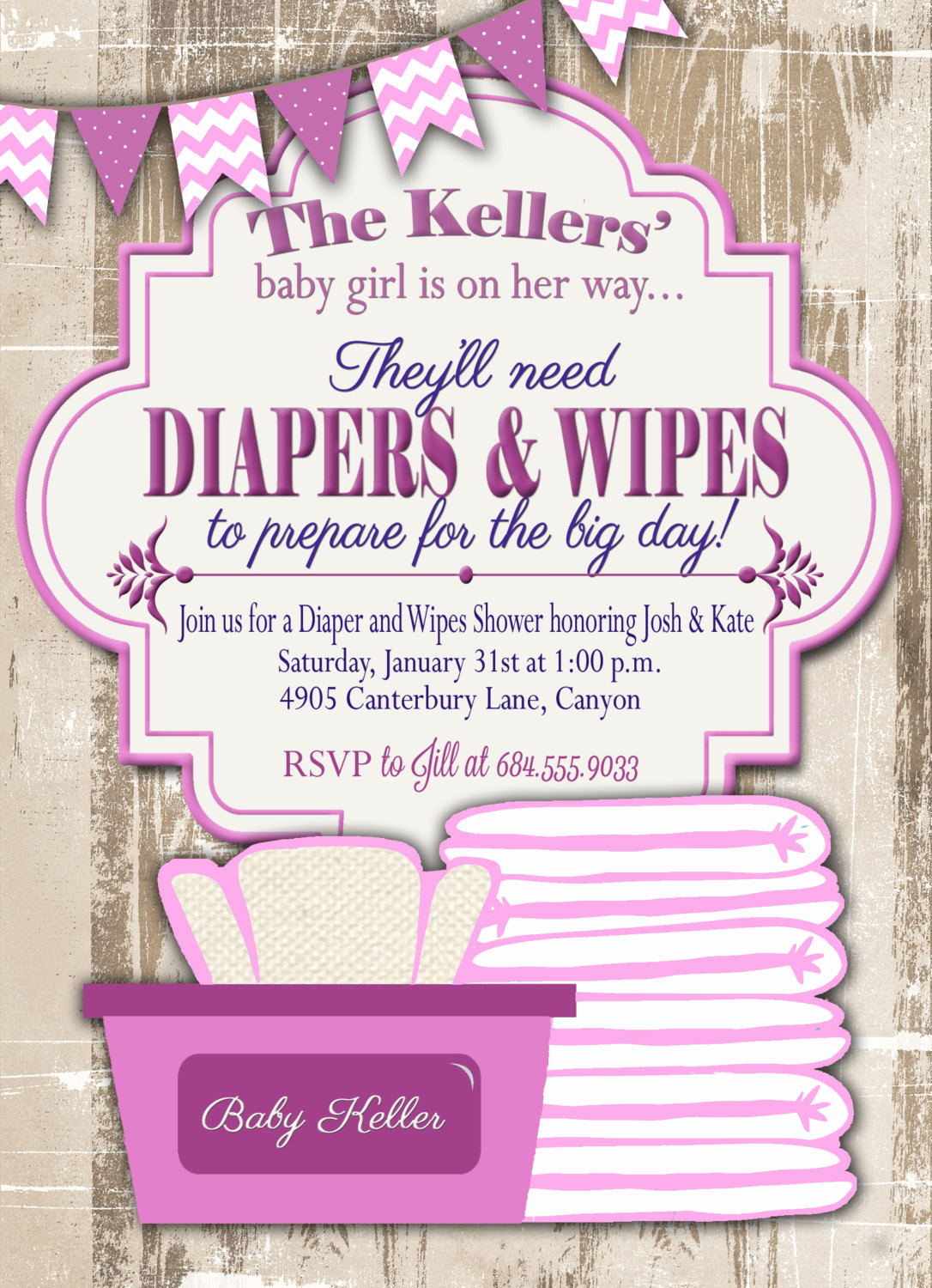 Diaper Template for Shower Invitation Unique Baby Shower Invitation Diaper and Wipes Baby Shower