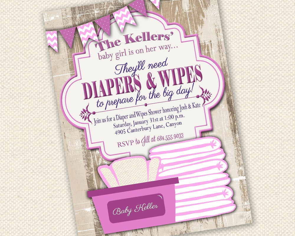 Diapers and Wipes Shower Invitation Awesome Baby Shower Invitation Diaper and Wipes Baby Shower