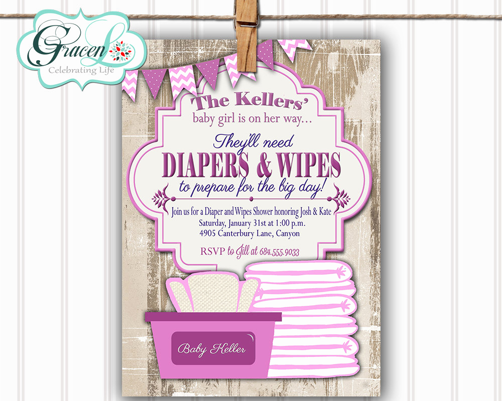 diaper and wipes baby shower invitation