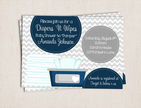 Diapers and Wipes Shower Invitation Beautiful Diaper and Wipe Gray & Navy Baby Boy Custom Printable Baby