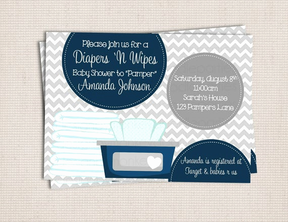 Diapers and Wipes Shower Invitation Beautiful Items Similar to Diaper and Wipe Gray & Navy Baby Boy