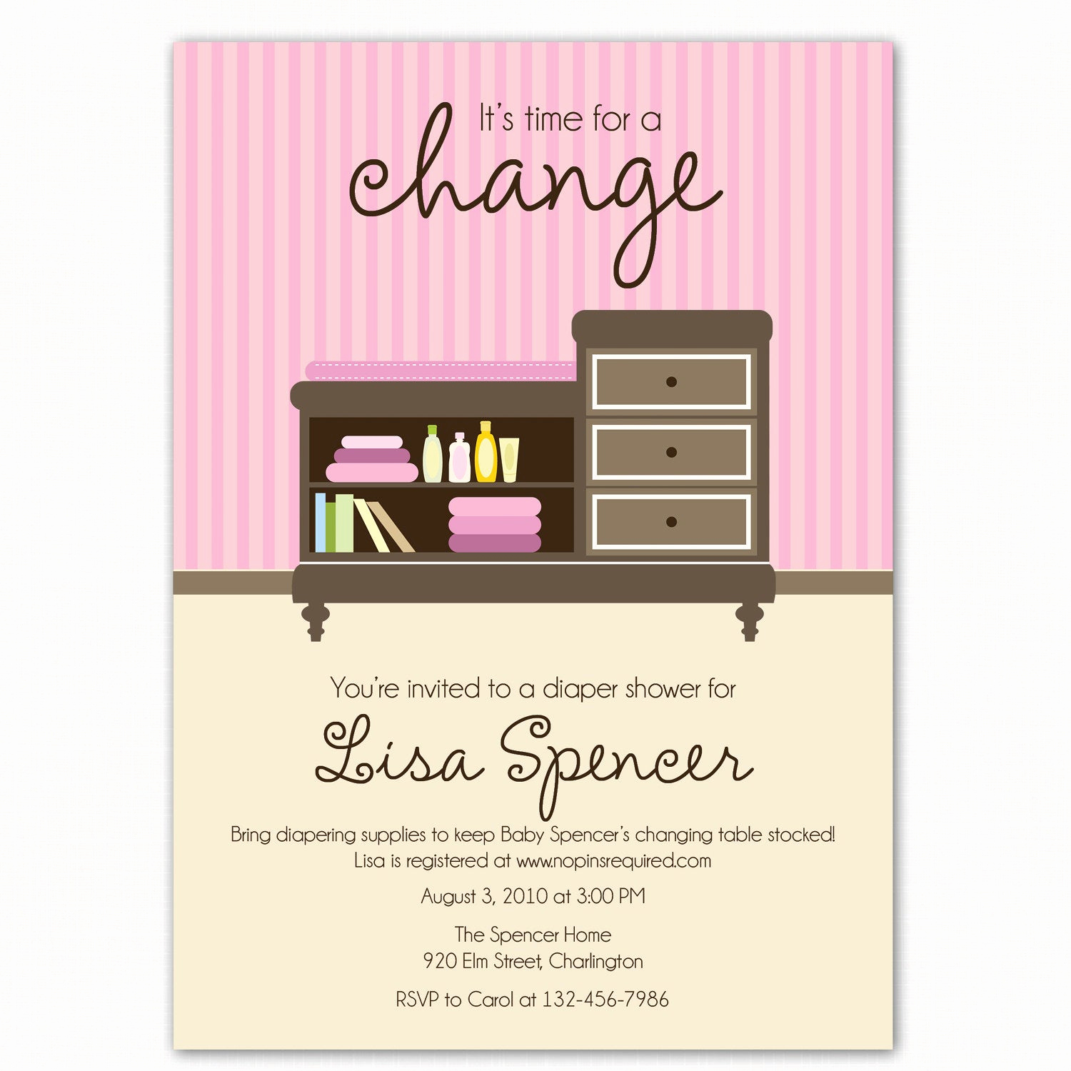 Diapers and Wipes Shower Invitation Elegant Diaper Baby Shower Invitation Changing Table Time for A