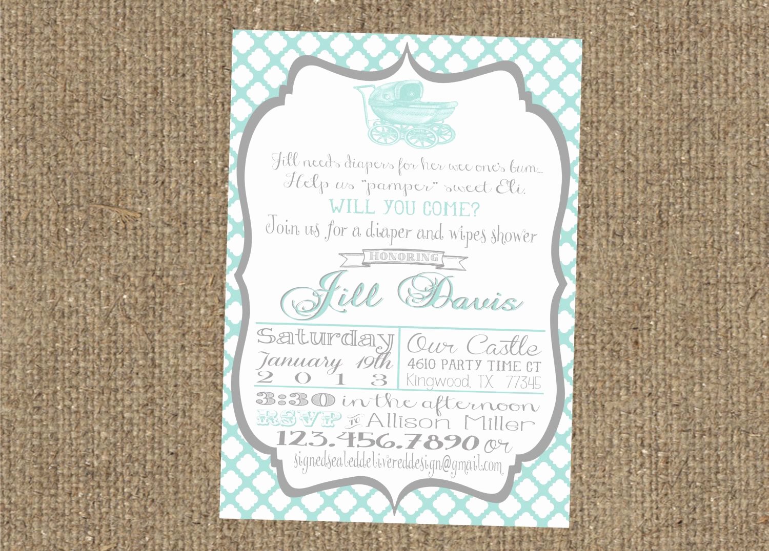 Diapers and Wipes Shower Invitation Elegant Diapers and Wipes Shower Invitation