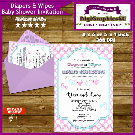 Diapers and Wipes Shower Invitation Fresh Diapers and Wipes Baby Shower Invitation Gender Neutral