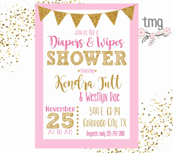 Diapers and Wipes Shower Invitation Fresh Diapers and Wipes Shower Invitation Baby Shower Pink and