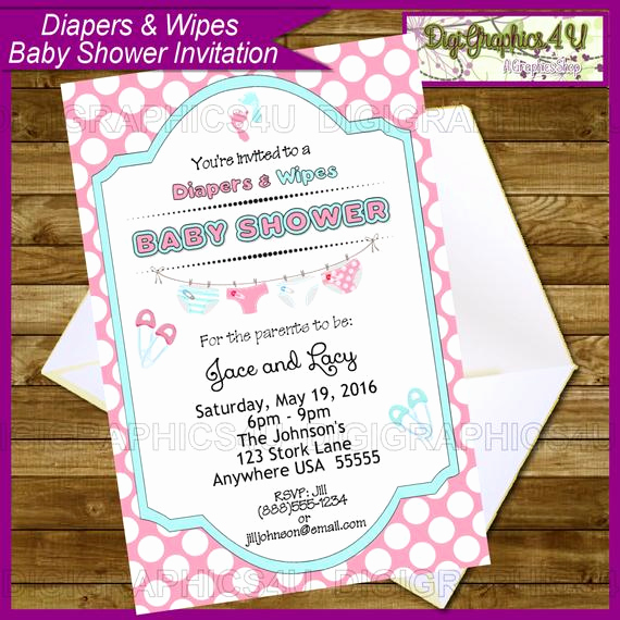 Diapers and Wipes Shower Invitation Inspirational Baby Shower Diapers and Wipes Gender Neutral by Digigraphics4u