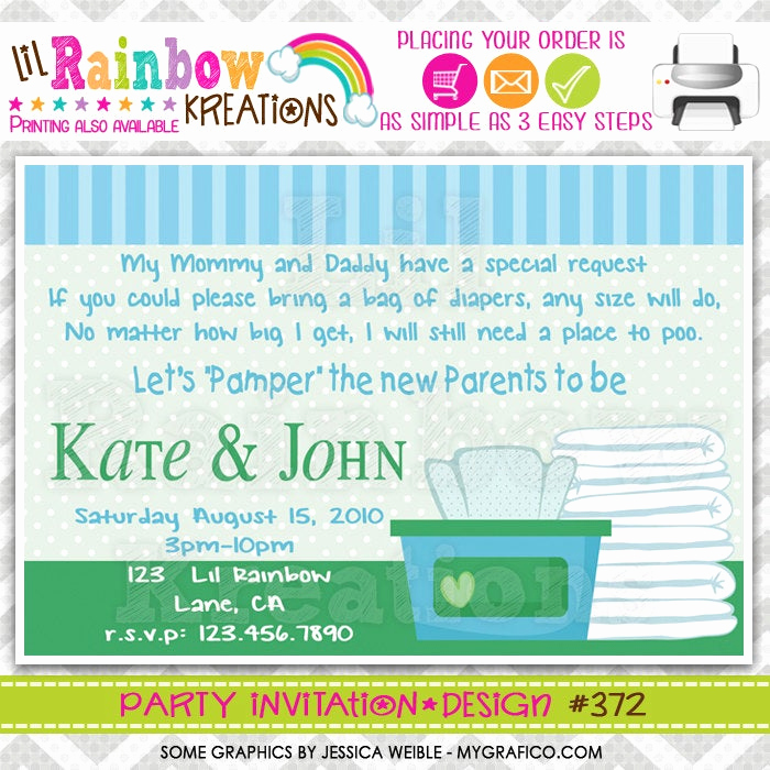 Diapers and Wipes Shower Invitation Lovely 372 Diy Diapers and Wipes Party Invitation Thank You