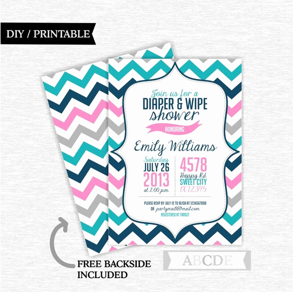 Diapers and Wipes Shower Invitation Luxury Diaper and Wipe Shower Invitation Pink Teal and Navy Girl