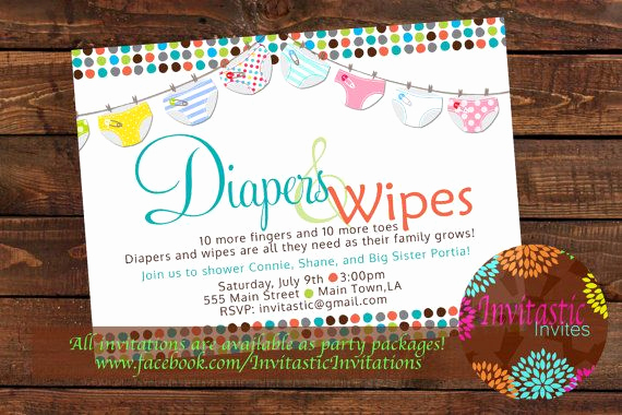Diapers and Wipes Shower Invitation Luxury Diaper Baby Shower Invitation Diaper and Wipe Gender