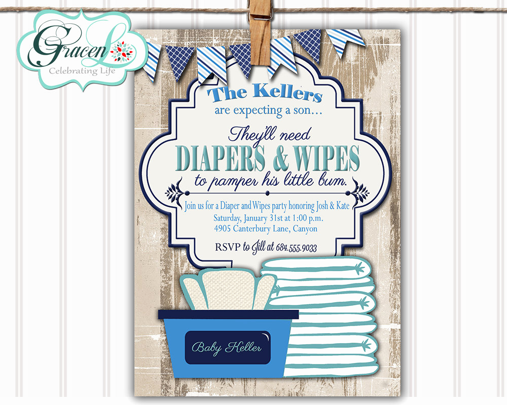 Diapers and Wipes Shower Invitation New Baby Shower Invitation Diaper and Wipes Baby Shower