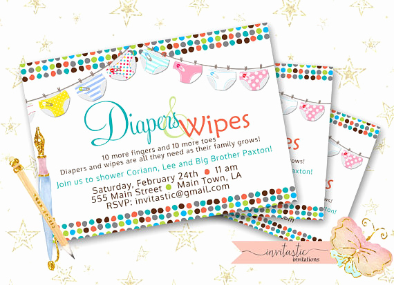 Diapers and Wipes Shower Invitation New Diaper Baby Shower Invitation Diaper and Wipe Gender Neutral