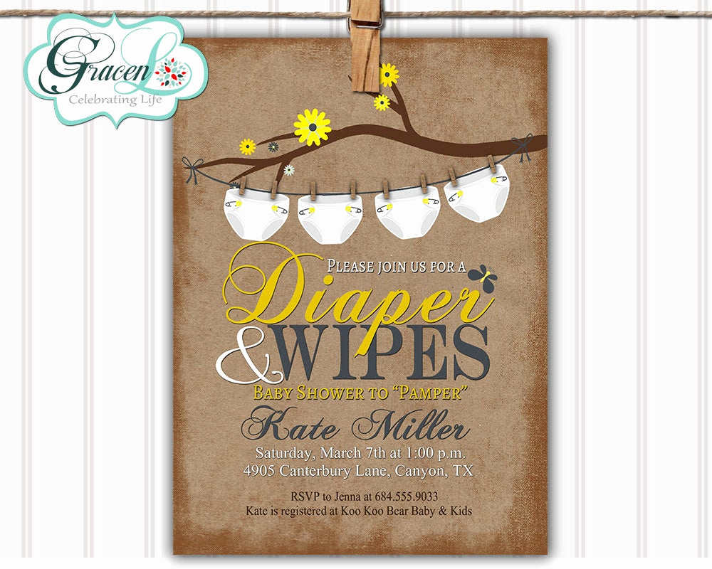 Diapers and Wipes Shower Invitation Unique Baby Shower Invitation Diaper and Wipes Baby by Gracenldesigns