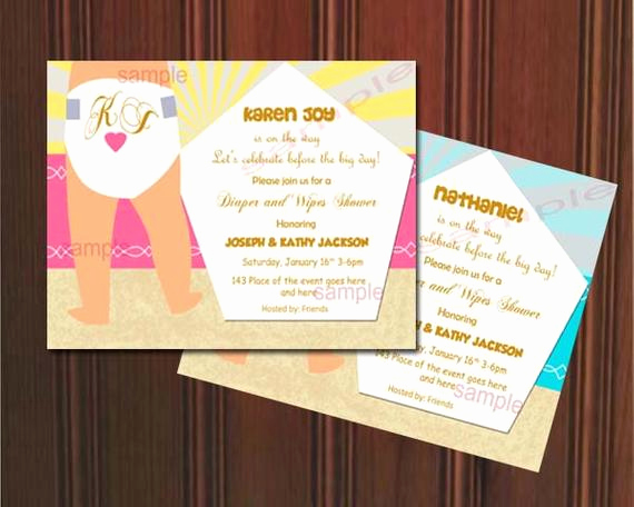 Diapers and Wipes Shower Invitation Unique Custom Listing Digital Printityourself by Neildigiprints
