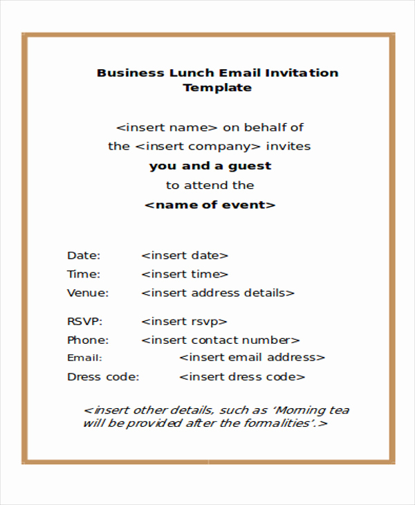 Dinner Invitation Email Template Awesome 9 Business E Mail Invitation Templates Word Pdf Psd
