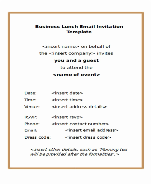 Dinner Invitation Email Template Beautiful Business Invite Template
