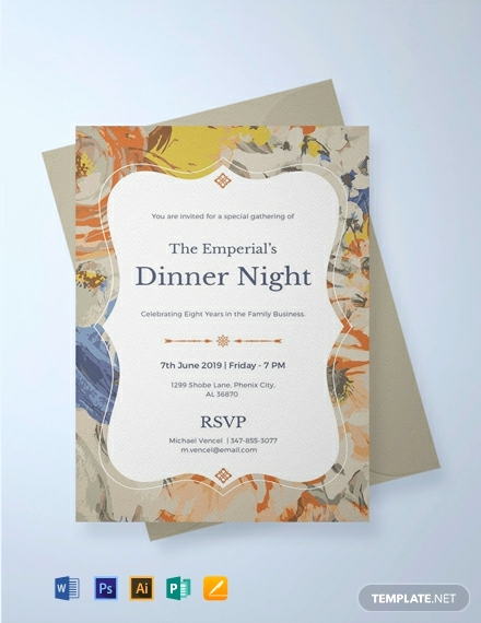 Dinner Invitation Email Template Beautiful Free formal Dinner Invitation Template Download 820
