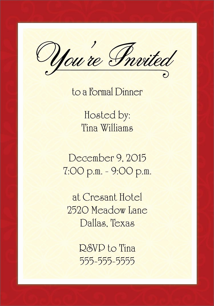 Dinner Invitation Email Template Elegant Invitation Cards