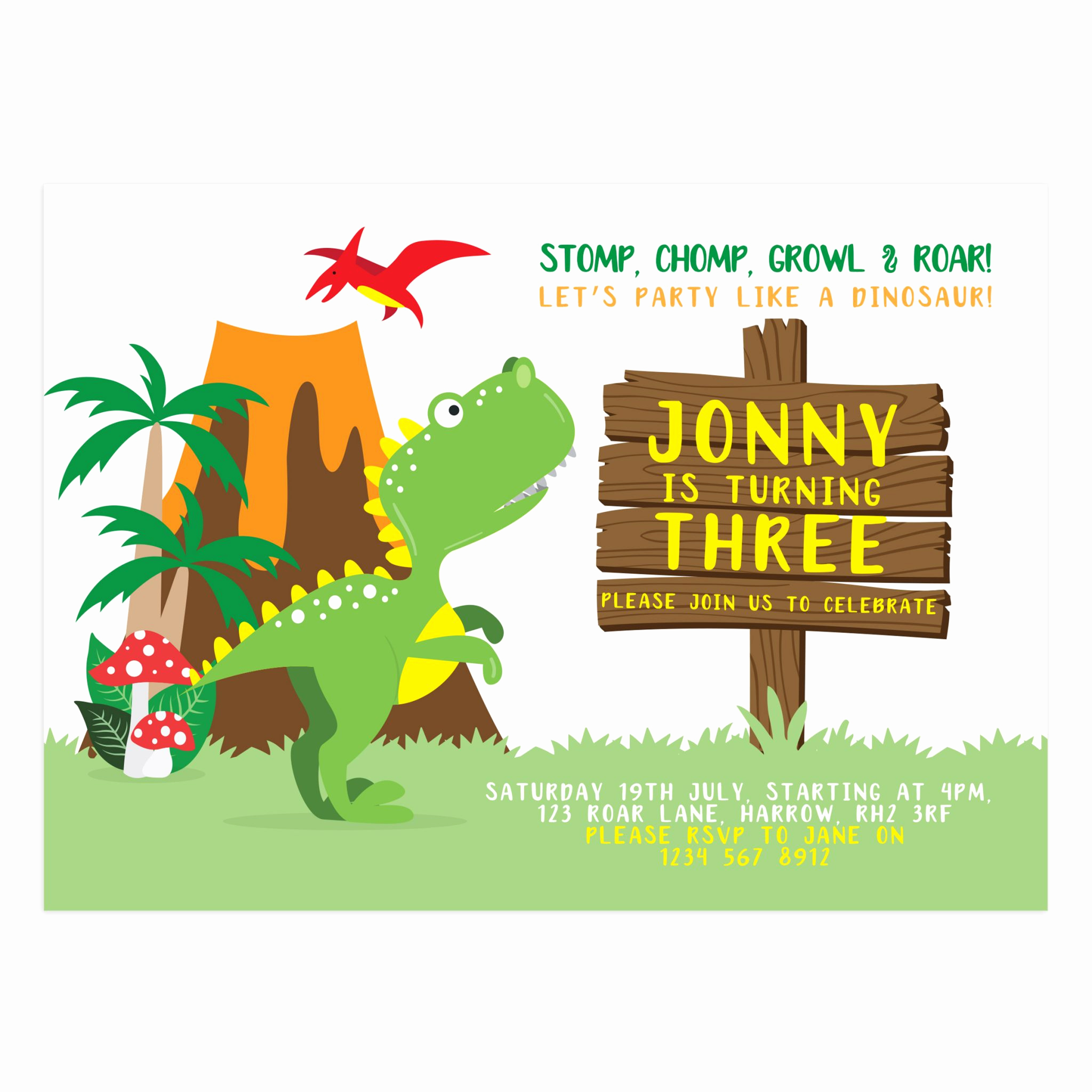 Dinosaur Birthday Invitation Template Awesome Party Like A Dinosaur