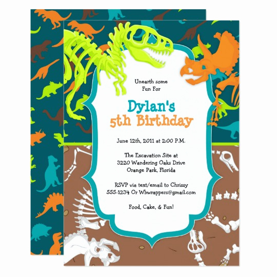 Dinosaur Birthday Invitation Template Inspirational Dinosaur Dig Birthday Party Invitation