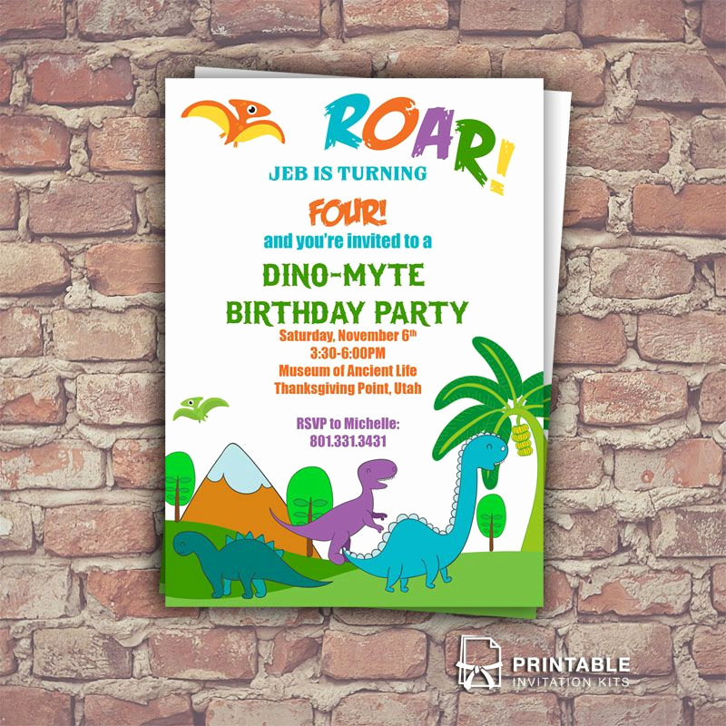 Dinosaur Birthday Invitation Template Inspirational Dinosaurs Free Birthday Invitation Template