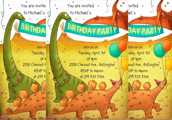 Dinosaur Birthday Invitation Template Unique 29 Dinosaur Birthday Invitation Designs & Templates Psd