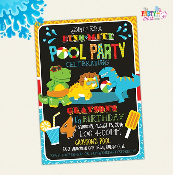 Dinosaur Birthday Invitation Wording Beautiful Dinosaur Pool Party Invitation Dinosaur Birthday Party