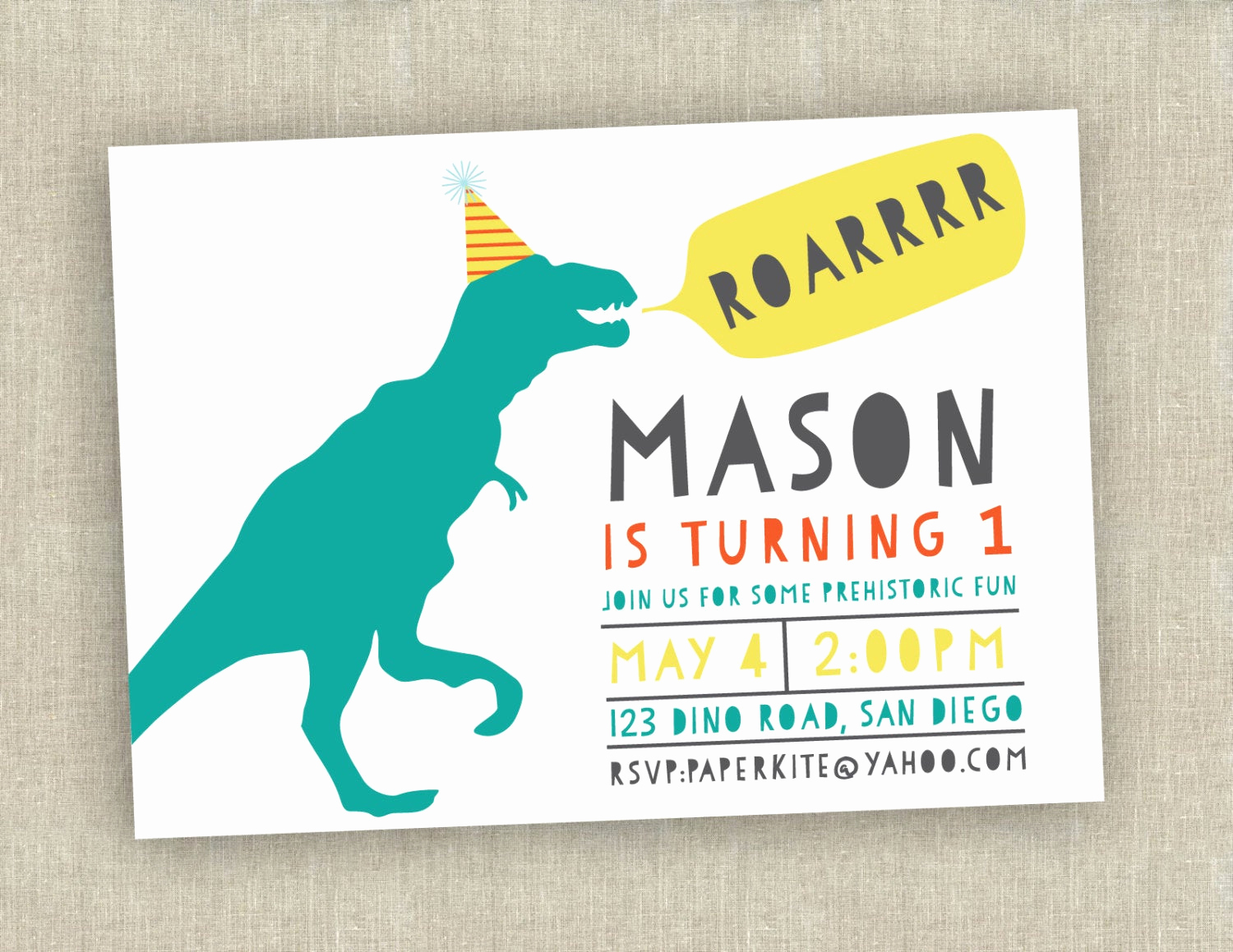 Dinosaur Birthday Invitation Wording Elegant Dinosaur Birthday Invitation First Birthday Invitation