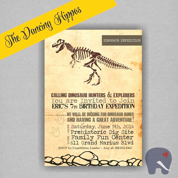 Dinosaur Birthday Invitation Wording Elegant Dinosuaur Dig Paleontology Birthday Invitation Archaeology