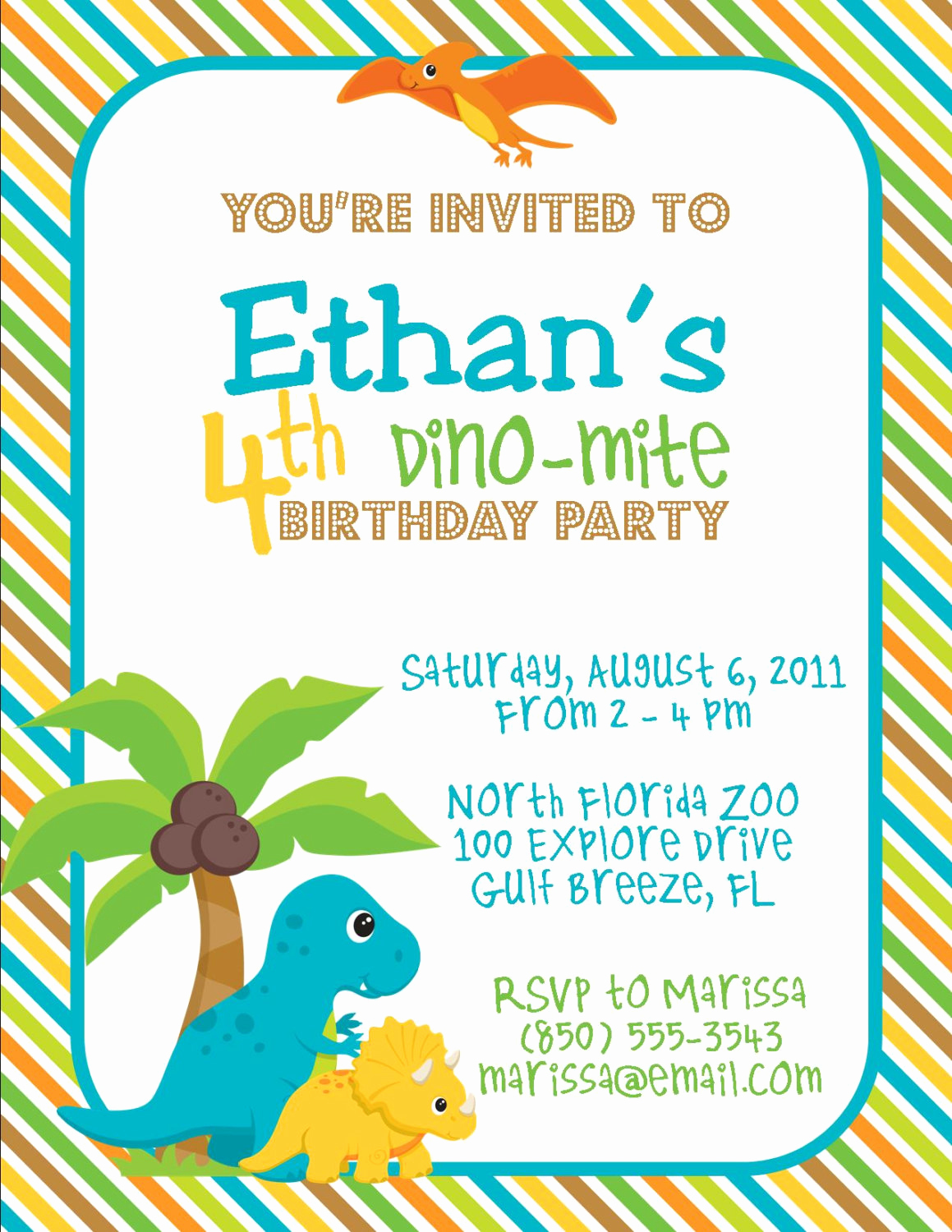 Dinosaur Birthday Invitation Wording Lovely Dinosaur Birthday Party 5x7 Invitation Boy Diy Printable