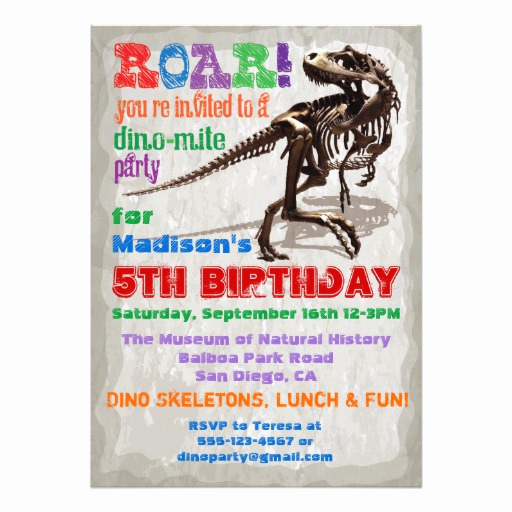 "Dinosaur Birthday Invitation Wording Luxury Dinosaur Birthday Party Invitation 5"" X 7"" Invitation Card"