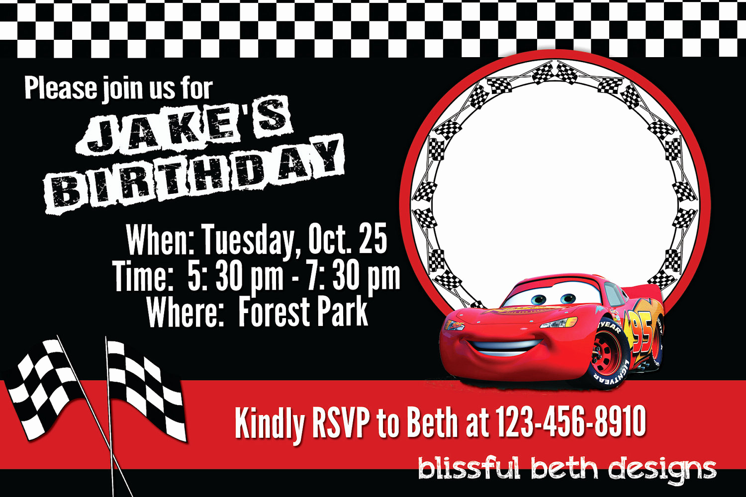 Disney Cars Invitation Template Best Of Lightning Mcqueen Invitation Templates