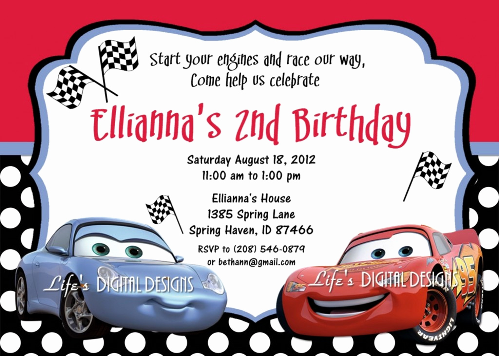 Disney Cars Invitation Template Elegant Cars Birthday Invitations Ideas – Bagvania Free Printable