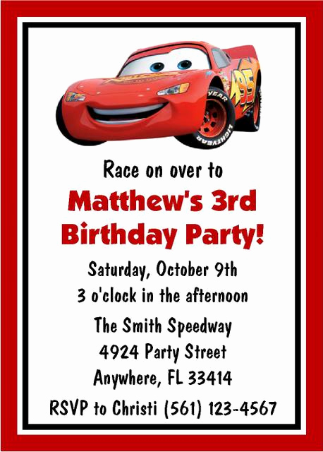 Disney Cars Invitation Template Elegant Disney Cars Invitation Template