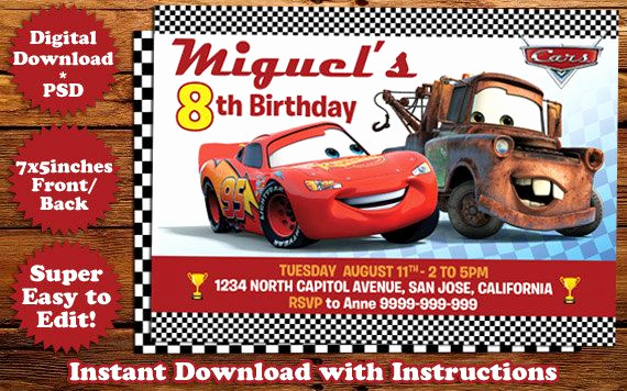 Disney Cars Invitation Template Inspirational Instant Download Disney Cars Birthday Invitation Template