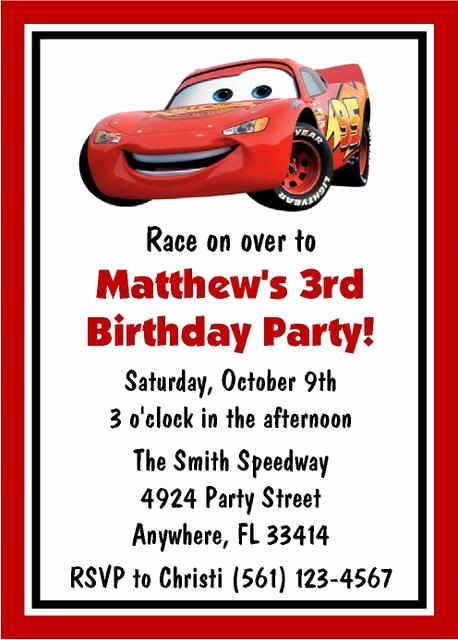 Disney Cars Invitation Template Lovely Disney Cars Birthday Invitations Favor Tags Candy Water