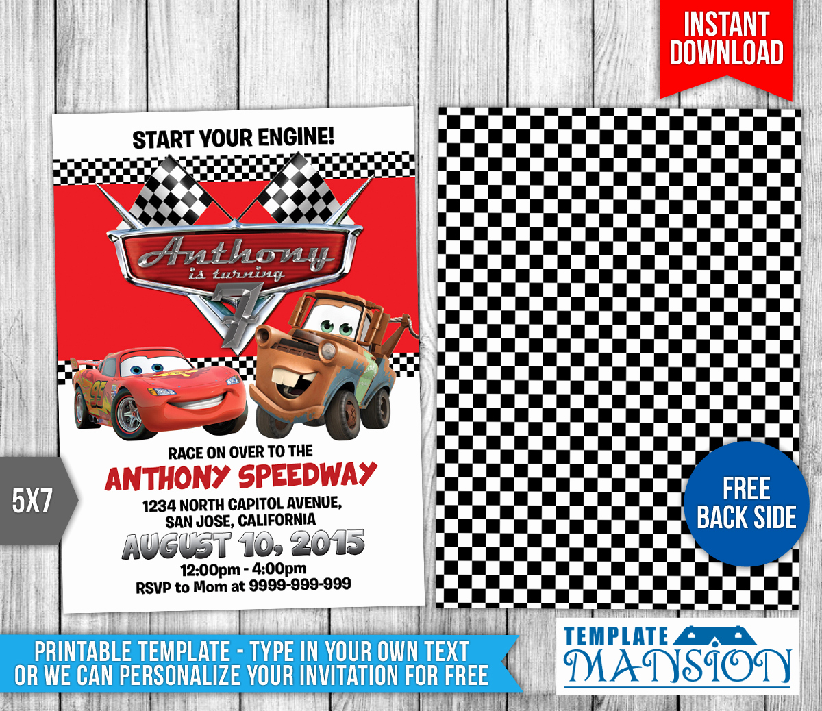 Disney Cars Invitation Template New Disney Cars Birthday Invitation 2 by Templatemansion On